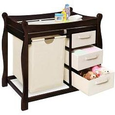 @Overstock - This Badger Basket changing table features a pull-out hamper for dirty duds and three storage baskets for diapering supplies, toys, clothes, and more. The changing table includes side rails and a safety belt.http://www.overstock.com/Baby/Sleigh-Style-Espresso-Changing-Table-with-Hamper-and-Baskets/5140835/product.html?CID=214117 $115.95