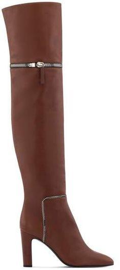 Giuseppe Zanotti Brown calf leather cuissard boot with zips inch heel Calf Leather, Brown Leather, Giuseppe Zanotti Heels, 5 Inch Heels, Heeled Boots, Calves, Fashion, Thigh Piece, High Heel Boots