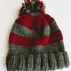 I created this hat as a quick knit to create a warm dense hat for my sons to wear ice fishing or to keep my husband's bare head warm on his winter dog walks.
