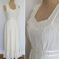 Gorgeous dress in classic Gunne Sax style. Features sleeveless fitted bodice with lace, mesh, and ribbon accents, and long flowing skirt with lace ruffle above the hem. Skirt has acetate lining. Closure is by long centre rear zipper and two pearl buttons. In great vintage condition- the hem was Fabulous Dresses, Beautiful Dresses, Gorgeous Dress, Gunne Sax, Lace Ruffle, Fitted Bodice, Fashion Week, Vintage Dresses, Ready To Wear