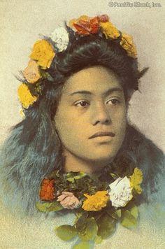 Photo of c.1900-1920 Portrait of hula dancer, flower leis (HAWAII)