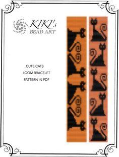 Bead Loom pattern, Cute cats LOOM bracelet cuff PDF pattern - instant download