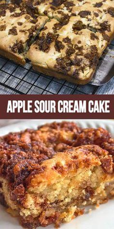 Apple Recipes Easy, Apple Cake Recipes, Sweet Recipes, Dessert Recipes, Apple Cakes, Apple Sour Cream Cake, Sour Cream Cookies, Moist Apple Cake, Sour Cream Coffee Cake