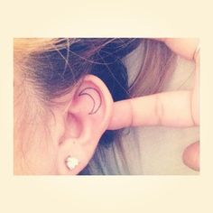 Or a minimalist moon. | 31 Ideas For A Delicate Inner-Ear Tattoo