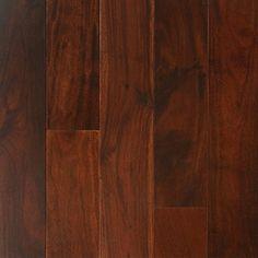 """Show details for Nuvelle Bordeaux Acacia Cuban Coffee- 5"""", Dark brown floor, red floor, handscraped floor, engineered floor, acacia hardwood, antiqued floor, vintage floor, floor idea, floor trend, wide plank floor"""
