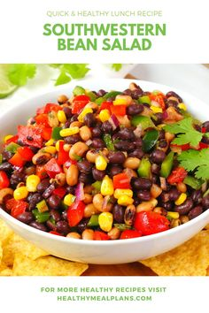 This easy Southwestern Bean Salad recipe features lots of non-perishable food items that can often be found in your pantry! Enjoy as a side dish or with tortilla chips! Quick Healthy Lunch, Healthy Eating, Non Perishable Food Items, Bean Salad Recipes, Salad Bar, Recipe Details, Side Dishes, Vegan Recipes, Beans