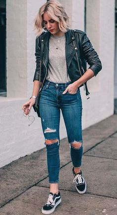 what to wear with a biker jacket : top bag rips black vans