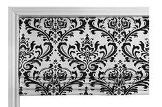 Faux Flat Roman Shade Valence/Couture Roman Shade/ Premier Prints Traditions Twill Black White /Custom Sizing/ Your Choice of Fabric
