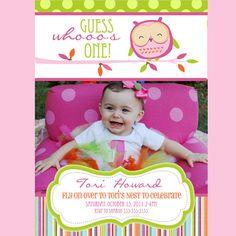 First Birthday Owl Invitation 1 Year Birthday, Owl Birthday Parties, Baby Girl First Birthday, Birthday Bash, Birthday Ideas, Owl Invitations, Shower Invitations, Birthday Invitations, Invites