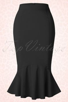 """The50s Winifred Fishtail Skirt in Blackby Collectif Clothing is an elegant pencil skirt with a sexy touch!Wear it to work, a romantic dinner or a chic cocktail party! This super feminine high waist pencil skirt will enhance your curves beautifully and features a stunning playful waterfall detail at the bottom, très chique! This beautyhits just below the knee with a height of 1.70m / 5'7"""". Made from a light stretchy classic black fabric and finished off with a hidden ..."""