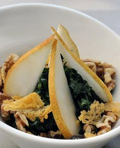 Massaged Kale Salad with Pears, Walnut, and Parmigiano-Reggiano recipe from the Farmers Market Coalition.