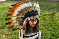 Three colors Chief indian Feather Headdress /native american Warbonnet. by theworldoffeathers. Explore more products on http://theworldoffeathers.etsy.com