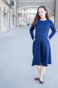Asta Jersey dress PDF sewing pattern for women round neck and long sleeve. Wardrobe By Me skater dress PDF sewing pattern in size 0-16 / 30-46