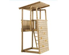 spielhaus garten play tower for back corner, needs refinement, but I like the small footprint and idea Backyard Fort, Backyard Playground, Backyard For Kids, Backyard Projects, Playhouse Kits, Build A Playhouse, Kids Playhouse Plans, Kids Outdoor Play, Kids Play Area