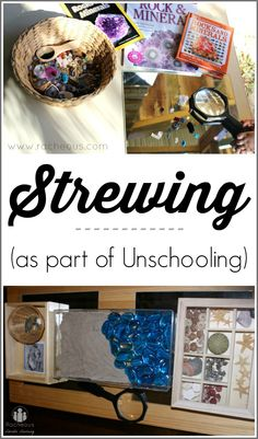 Strewing | Unschooling: In my opinion, in order for unschooling to be successful, several elements must be present:      A dedicated parent who knows their child's interests and learning style and takes the time to observe and reflect on them,     An environment where children are encouraged to try, to question and to find solutions, &     A rich environment with materials, books, toys and resources to facilitate learning.