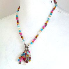glass beaded necklace- heart necklace- Indian jewelry - hipster necklace- bright colored necklace- mothers' day necklace- handmade vintage by Sweetlakevintage on Etsy