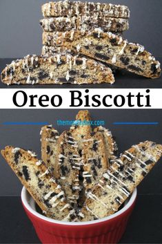 Oreo Biscotti - tender crisp vanilla biscotti filled with Oreo chunks and drizzled with white chocolate and Oreo crumbs! | The Monday Box