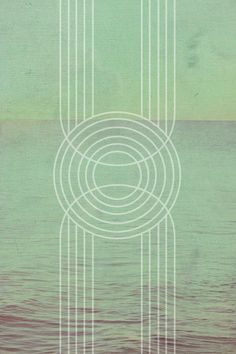 Jane Rovers - geometric design art deco art nouveau ocean print grayed seafoam green - jade waves