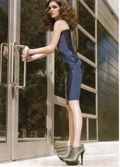 Balenciaga blue patent leather dress and heels, all fall 2007