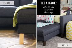 Effortlessly replace those ugly Ikea couch legs in just 5 minutes. |  Ikea Hack – Replacing Legs on an Ikea Couch | The Blissful Bee