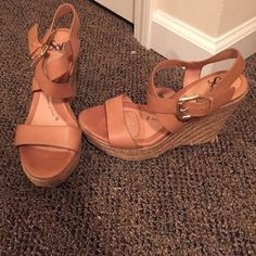 Light brown wedges. Sofft brand Very high quality wedges. Cushioned in the ball of the foot. Sofft designer brand. WORN ONCE Sofft Shoes Wedges