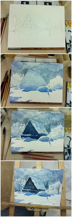 Snow covered villa A frame in the mountains. Water color step by step painting. ?????????? (Diy House Frame)