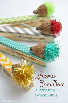 Glittery Colored Acorn Clothespin Nature Craft Idea | Tween Craft Ideas for Mom and Daughter/headgehog