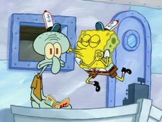 Squidward looks like he just realized that he is madly in love with Spongebob.