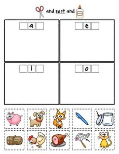 Sample sorting page from:  Medial Vowel Sorts {Phonemic Awareness Sorting Series, Set #6}  $