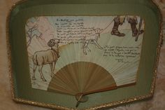 """""""Pittura e poesia"""" Ventaglio di forma quadrangolare; sul fronte è riportata la poesia """"Er montone, assai prudente o eroe prudente"""" con firma autografa di Trilussa. Il sonetto è illustrato dal  pittore Giambattista Conti."""