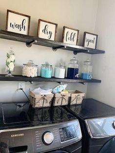 Laundry Room Remodel, Laundry Decor, Laundry Room Signs, Laundry Room Organization, Laundry Detergent Storage, Laundry Room Shelves, Organization Ideas, Organizing, Laundry Room Colors