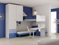 habitación azul para dos niños