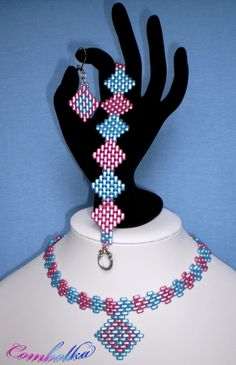 Diamond shapes - 2-hole beads necklace + bracelet + earrings