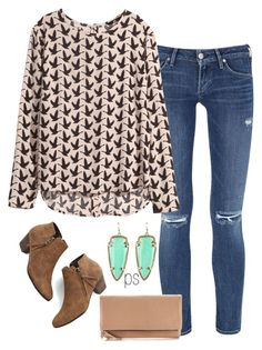 """""""date night"""" by prep-society ❤ liked on Polyvore featuring Citizens of Humanity, H&M, Kendra Scott, Chelsea Crew and Clare V."""