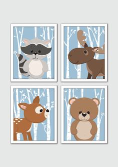 Dress up those plain and boring walls with this cheerful woodland animal art print set. Designed in exquisite digital detail, it features four tree lined art prints with a friendly animal character in each. When framed and hung together, this unique art print set makes a harmonious