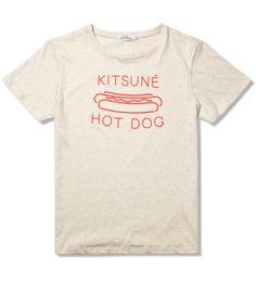 KITSUNÉ TEE  Melange Grey Beige/Red Kitsune Hot Dog T-Shirt