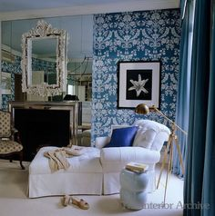 Much much less seen vignette from an oft-photographed and featured bedroom by Miles Redd. Love the juxtaposition of the patterned wallpaper and mirrored fireplace wall.