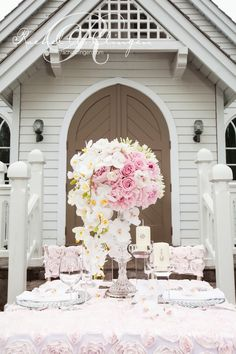 Beautiful pink table setting | | Photo by Rowell Photography, Flowers By Rachel A. Clingen