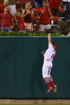 Peter Bourjos makes the game-ending catch in the ninth inning against the Pittsburgh Pirates. Cards won 5-2. 7-09-14
