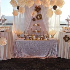 Stunning dessert table at a Quinceañera party! See more party planning ideas at… Quince Decorations, Quinceanera Decorations, Quinceanera Party, Table Decorations, Party Fiesta, Bridal Shower, Baby Shower, Candy Table, Candy Buffet