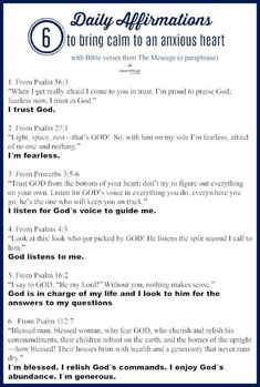 6 daily affirmations to bring calm to an anxious heart I bible verses about trusting God I Bible verses for anxiety I affirmations for confidence I Christian affirmations for getting rid of fear I Above the Waves II Christian Affirmations, Affirmations For Anxiety, Affirmations Positives, Affirmations For Women, Christian Life, Christian Quotes, Christian Women, Christian Living, Verses About Trust