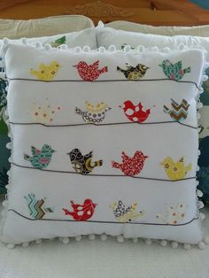 """Items similar to bicycle pillow case cushion cover cath kidston other fabric home decor unique handmade applique birthday gift 16 """"x on etsy : Almofadas Cute Pillows, Diy Pillows, Decorative Pillows, Cushions, Throw Pillows, Diy Pillow Covers, Bird Pillow, Bird Quilt, Sewing Pillows"""