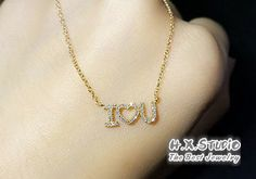 Solid 18K Rose Gold Diamond Pave I Love You Necklace, 18K Diamond Love Necklace, Anniversary, Valentines Day, Girlfriend Gift, Wife Gift