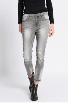 Blugi dama rupti in genunchi conici talie inalta Grey, Pants, Style, Fashion, Hipster Stuff, Gray, Trouser Pants, Swag, Moda