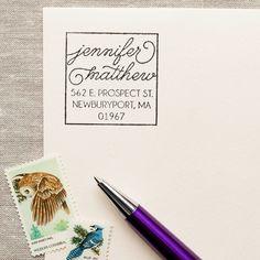 Boxy Script - Self-inking Stamp – The Chatty Press envelope return address invitations Self Inking Address Stamp, Bespoke Wedding Invitations, Personalized Note Cards, Personalized Self Inking Stamps, Digital Scrapbook Paper, Brush Lettering, Character Names, Cursive, Mail Art