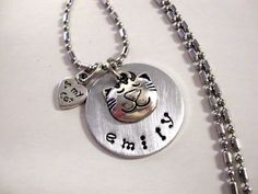 We have them for our human kids, why not our feline kids? Personalized Jewelry Cat Necklace Cat Jewelry by CharmAccents, $20.00