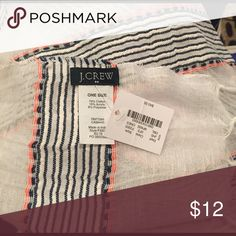 NWT J.Crew Scarf White with stripes of blue, white, and neon orange horizontal pattern. NEw with tags. Never worn. J. Crew Accessories Scarves & Wraps