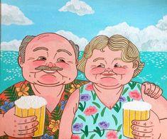 . Drink Beer, Old Men, Lady, Senior Guys