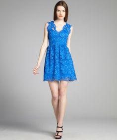 Wyatt cobalt sleeveless lace dress