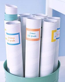 Store your child's artwork treasures in mailing tubes labeled by year and grade. Organized treasures can be easily used in scrap books or framed masterpieces. Adult children love to review childhood memories!